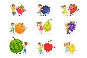 Cute little children having fun and playing with big fruits, set for label design. Colorful cartoon characters detailed vector Illustrations