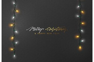 Christmas holiday greeting cards design. Glowing xmas Lights.