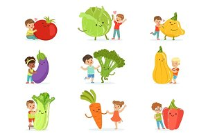 Cute little children having fun and playing with big vegetables, set for label design. Colorful cartoon characters detailed vector Illustrations
