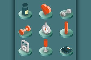 Gym color isometric icons