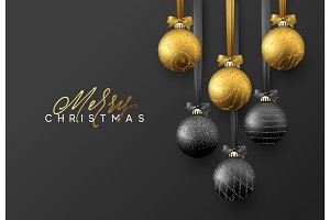 Christmas greeting card, design of xmas golden and black balls on dark background