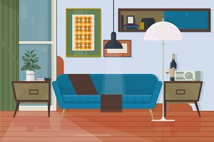 Living room with furniture. Armchair, couch, torchere, cupboard, sofa, painting. Isolated vector objects. Flat vector illustration