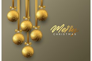 Christmas greeting card, design of xmas golden balls on dark background