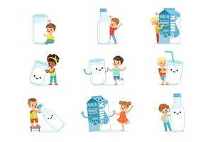Smiling little children playing and dancing with large boxes, mugs and bottles of milk, set for label design. Colorful cartoon characters