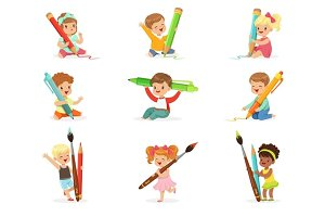 Cute young children holding big pencils, pens and paintbrushes, set for label design. Education and child development. Cartoon detailed colorful Illustrations