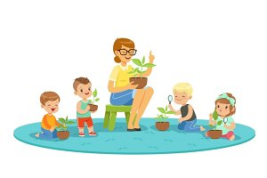 Biology lesson in kindergarten, children looking at plant seedlings. Cartoon detailed colorful Illustrations isolated on white background