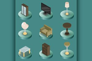 Interior color isometric icons