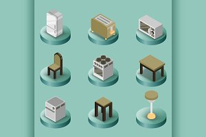 Kitchen color isometric icons set