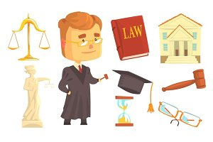 Judge and attributes of judicial activity set for label design. Law and justice, cartoon detailed colorful Illustrations