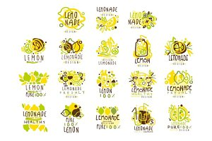 Lemonade set for label design. Colorful vector Illustrations