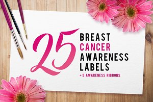 Breast Cancer Avareness Label Set