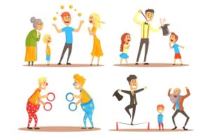 Young man juggling with oranges before his family. Clowns juggling with rings on a circus show. Circus or street actors set of colorful cartoon detailed vector Illustrations