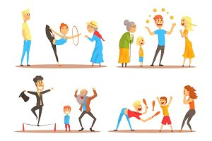 Rope walker and magician performing before happy people. Circus or street actors set of colorful cartoon detailed vector Illustrations
