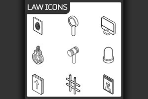 Law outline isometric icons