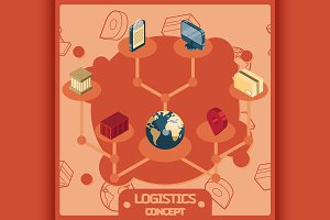 Logistics color concept icons