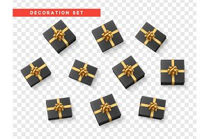Set gift box black, with gold ribbon and bow.