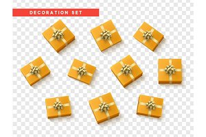 Set gift box orange, with gold ribbon and bow.