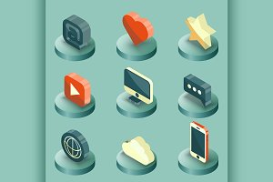 Media color isometric icons set
