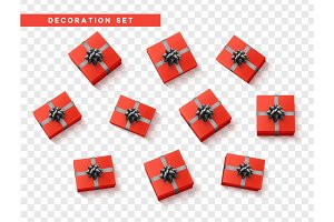 Set gift box red, with black ribbon and bow.