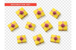 Set gift box yellow, ribbon and bow.