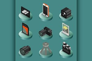 Photo color isometric icons