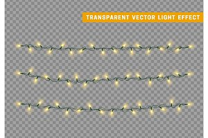 Lights string garlands color yellow.