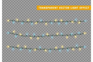 Christmas lights isolated realistic design.