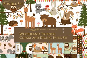 Woodland Friend Clipart+Pattern set