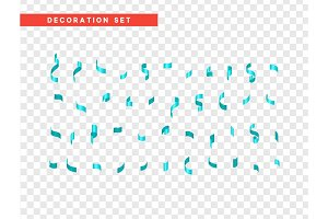 Blue confetti celebration. Ribbon serpentine, isolated with transparency background effect
