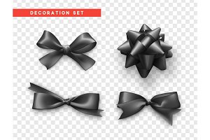 Bows black realistic design. Isolated gift bows with ribbons