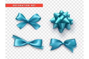 Bows blue realistic design. Isolated gift bows with ribbons