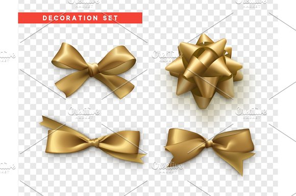 Bows Gold Realistic Design Isolated Gift Bows With Ribbons