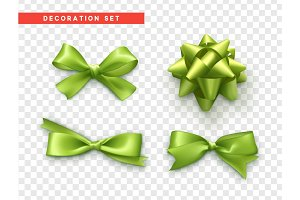 Bows green realistic design. Isolated gift bows with ribbons