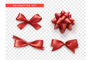Bows red realistic design. Isolated gift bows with ribbons