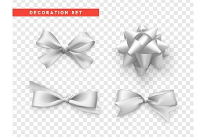 Bows white realistic design. Isolated gift bows with ribbons