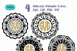 Halloween mandala monogram svg