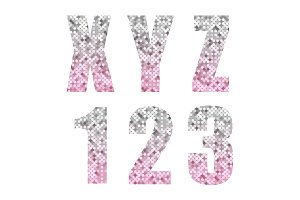 Beautiful trendy glitter alphabet letters and numbers with silver to pink ombre