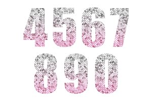 Beautiful trendy glitter alphabet numbers with silver to pink ombre