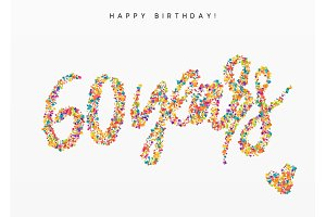 Sixty years, lettering sign from confetti.