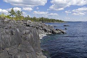 Steep granite shores of Lake Ladoga.