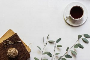Teacup, Journal & Eucalyptus Flatlay