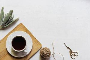 Scissors, Succulent & String Flatlay