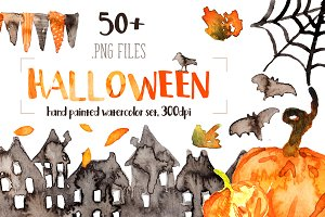 Watercolor Halloween set