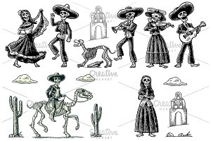 Skeleton dance play mexican desert