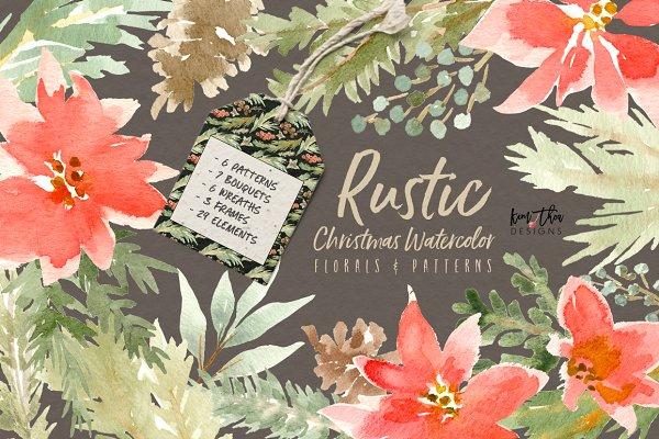 Rustic Christmas Watercolor Florals