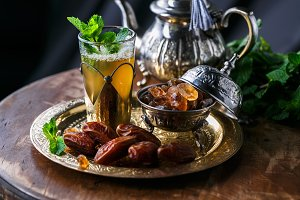 Close view of glass of moroccan mint tea