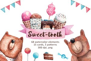 Sweet-Tooth - Watercolor Clip Art