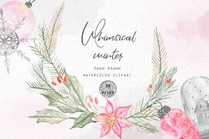 Whimsical winter. Watercolor clipart