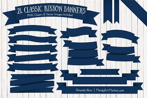 Navy Ribbon Banner Clipart