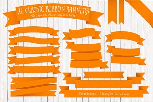 Orange Ribbon Banner Clipart